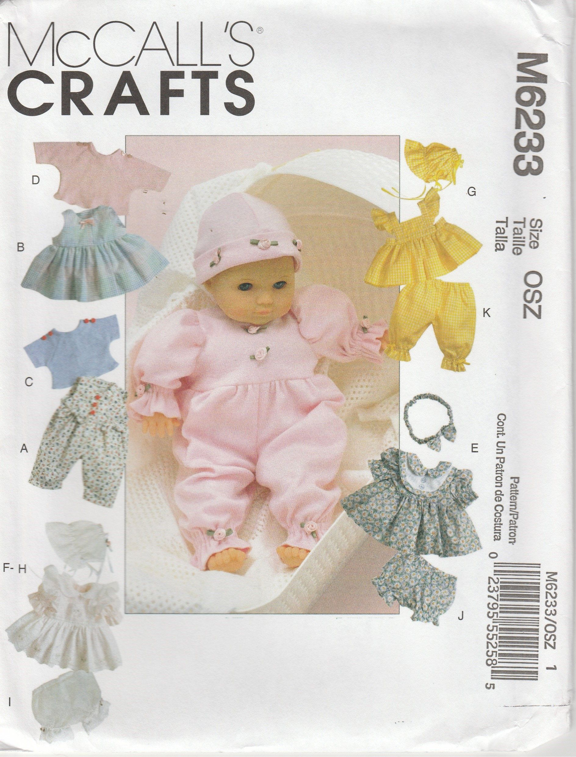 Doll Clothes Pattern Dress Romper Bonnet More Mccalls 6233 Size Sml Doll Size 8 Inch To 16 I Baby Doll Clothes Patterns Sewing Doll Clothes Baby Doll Clothes