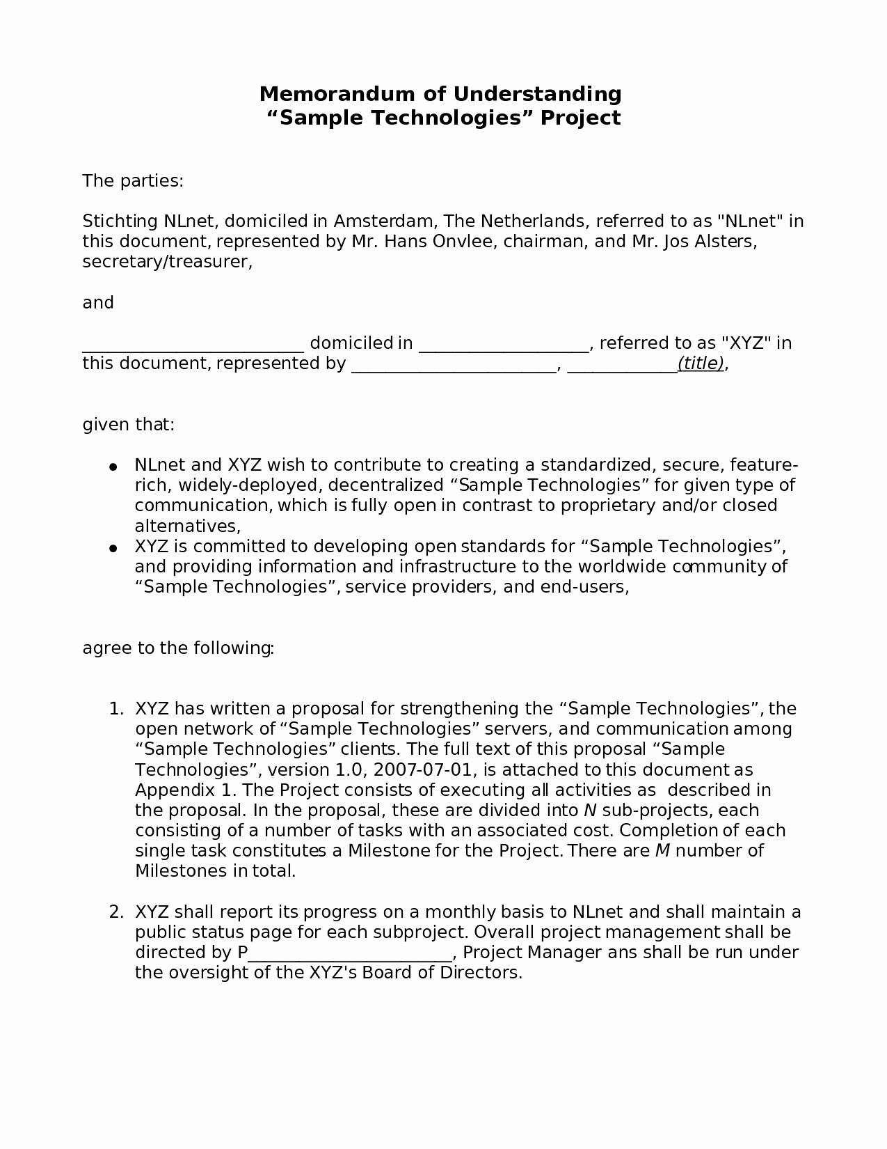 20 Memorandum Of Understanding Business Partnership Template