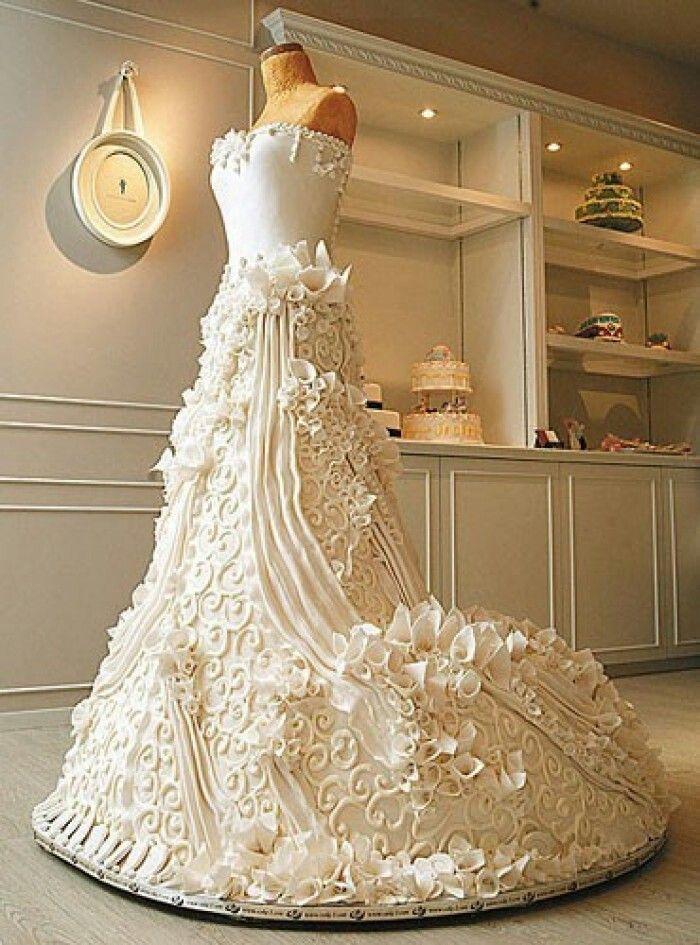 Edible wedding dress cake