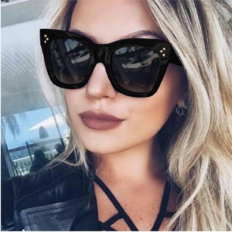 c5718a06ae Square Sunglasses Women Cat Eye Luxury Big Black Sun Glasses Oversize 2017