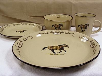 The Western Series u2013 Horse Scroll 16PC Dinnerware Set features stunning running horse imagery and hand painted rims that will add beautiful western charm to ... & The Western Series u2013 Horse Scroll 16PC Dinnerware Set features ...