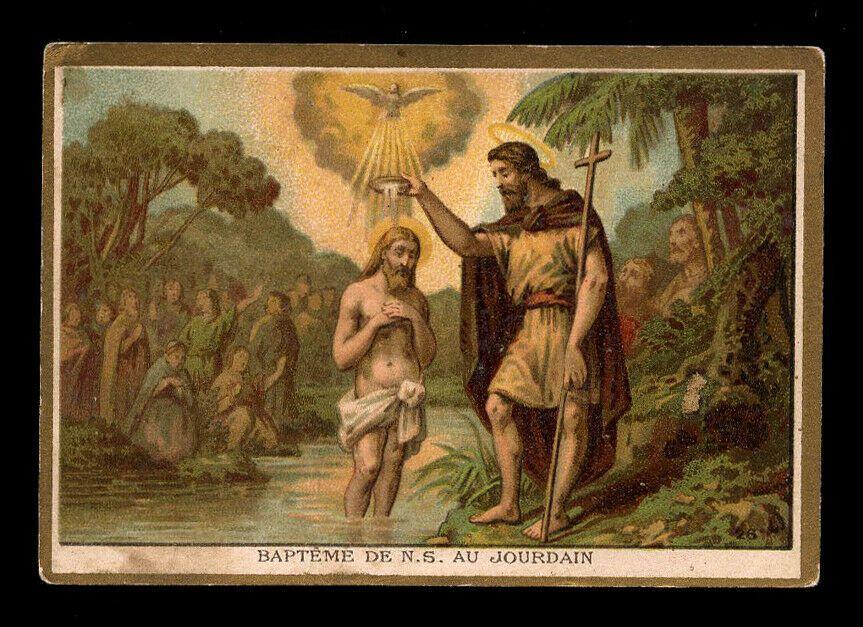 Santino Cromo Holy Card Vita Di Gesu 039 Battezzato Nel Giordano Da S Giov Battista Gesu Satiro Battisti