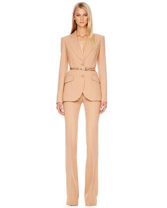 Michael Kors Two-Button Crepe Blazer, Side-Zip Crepe Pants & Python-Print Skinny Belt.