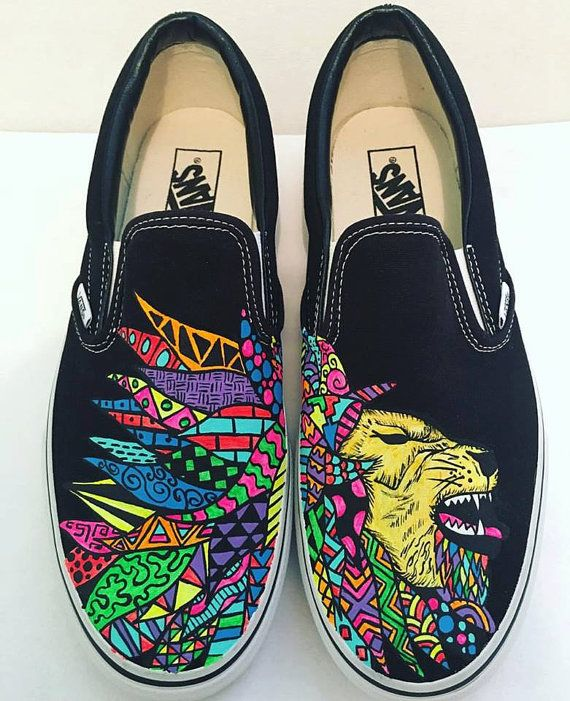 Lion hand painted Vans custom patterns patterns zentangle by