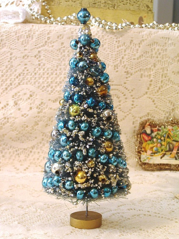 VTG XMAS Ornament - 75 in Bottlebrush Tree, Blue, Gold  Silver