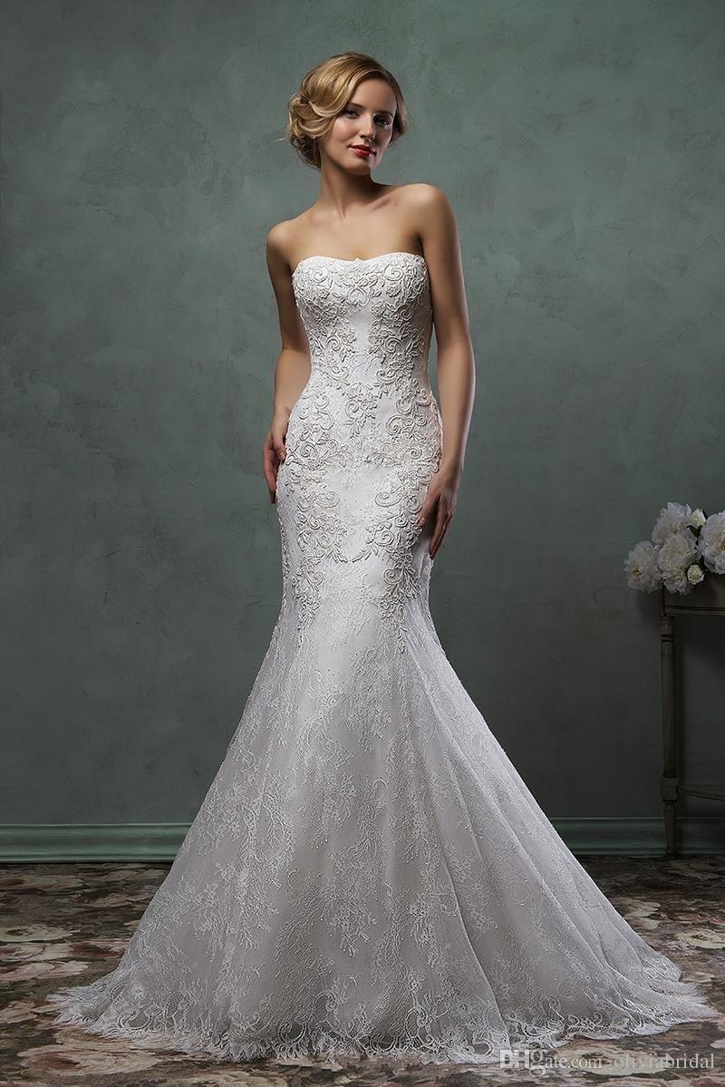 Wedding dress long sleeve  Beautiful Amelia Sposa Bateau Neckline Capped Lace Fabrics Appliques