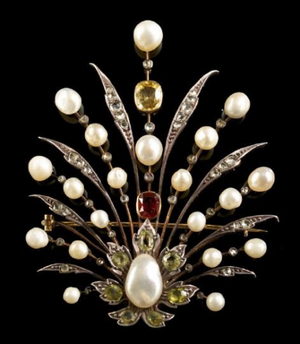 Victorian Multi Gemstone Pearl Aigrette Victorian Jewelry Beautiful Jewelry Silver Brooch