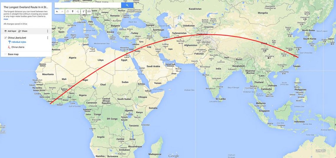 The Longest Overland Route in a Straight Line – Maps Travel Distance