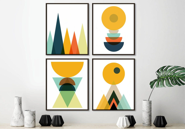 Set Of 4 Scandinavian Prints Geometric Prints Christmas Wall Etsy Abstract Geometric Art Scandinavian Art Scandinavian Print
