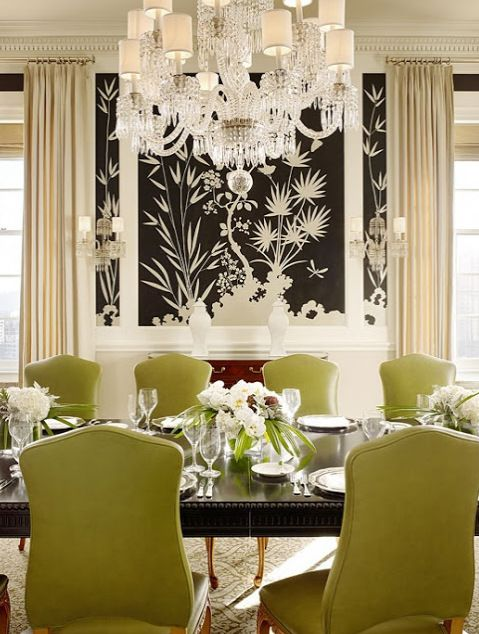 Elegant Dining Room   Kiwi Green Chairs, Beautiful Chandelier, Black And  White Wall Mural. Part 95