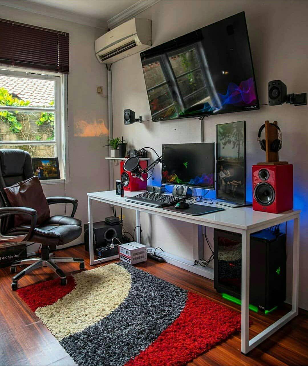 Gaming room setup computer setup desk setup pc desk pc setup