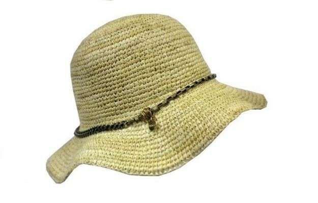Gorros de ganchillo: fotos diseños originales - Sombrero de rafia