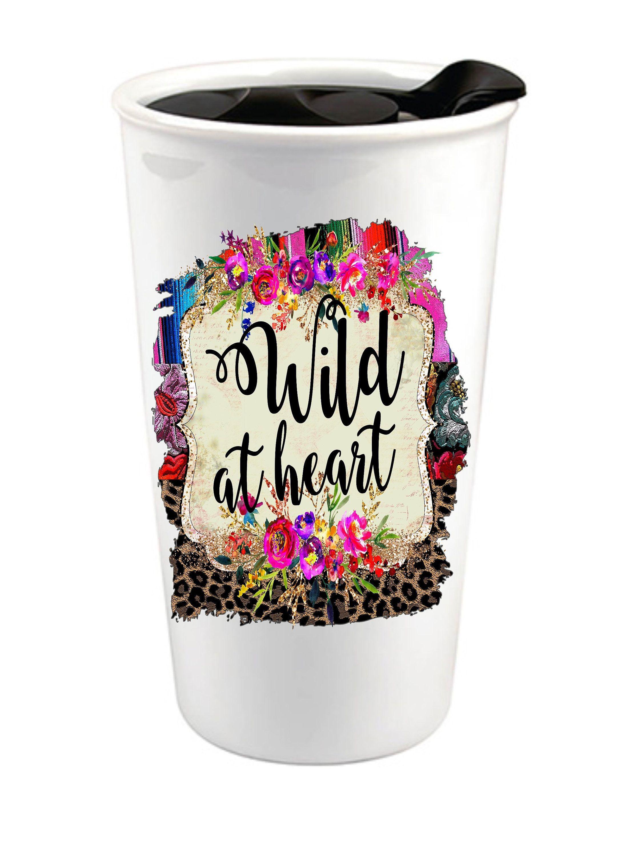 Wild At Heart Serape Leopard Print Custom Coffee Cup Southwestern Rustic Ceramic Travel Mug Personalized Co Custom Coffee Cups Rustic Ceramics Lilly Prints
