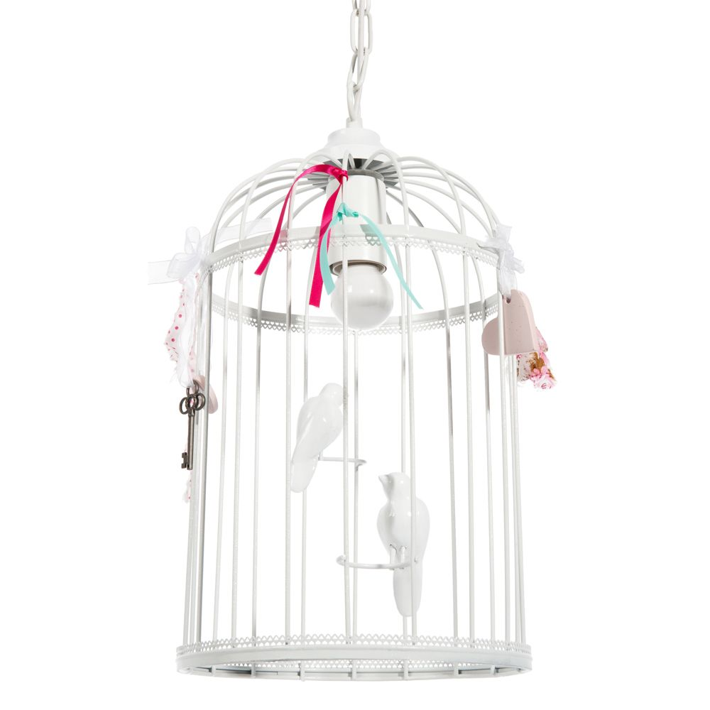 Suspension cage oiseaux en m tal blanc h 38 cm for Suspension luminaire maison du monde