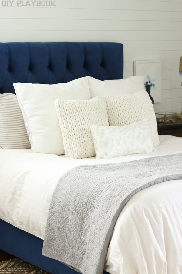 A Navy Headboard Neutral Rug For The Win Bedroom