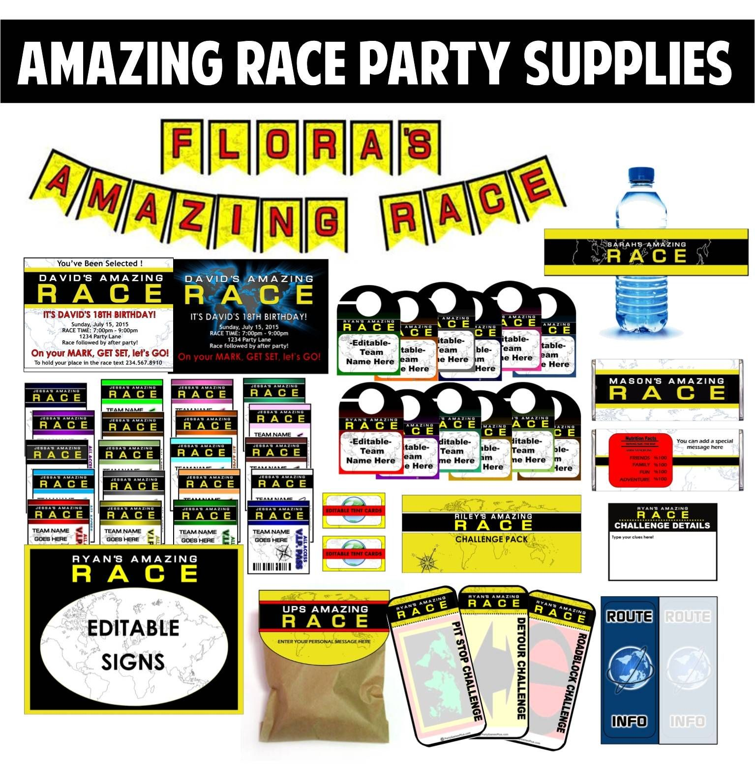 Amazing Race Party Ideas for Pit stops, challenges, clues, and supplies.