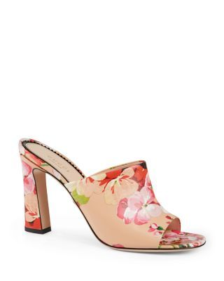 1d48064491db Gucci Marine Floral Slide High Heel Sandals