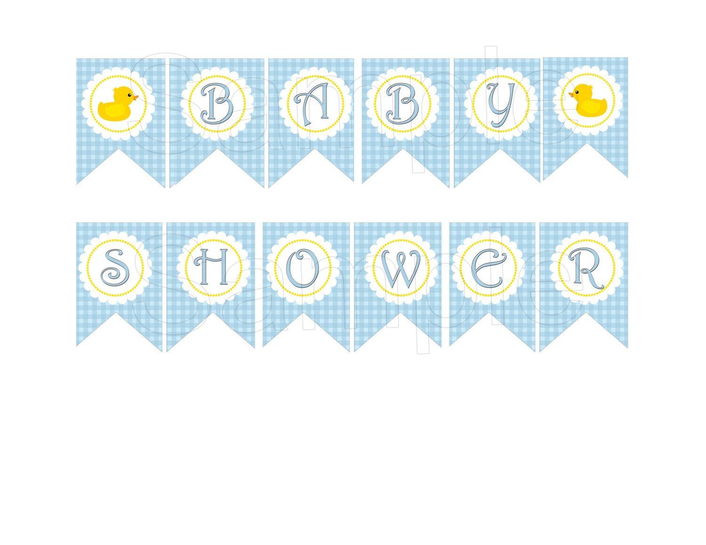 Blue Rubber Duck Baby Shower Diy Printable Banner 4 99 Via Etsy Baby Shower Banner Free Baby Shower Baby Shower Duck