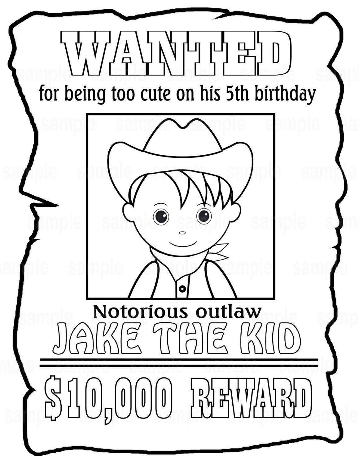 Personalized Printable Wanted Cowboy Poster Birthday Party Favor Childrens Kids Coloring Page
