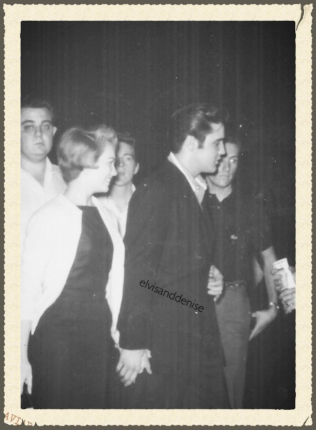 Elvis picking up his girlfriend Anita Wood from the airport in Memphis. Anita had been to Hollywood to make a screen test as part of a contest-winning promotion.