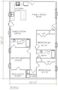 Barndominium Floor Plan 3 Bedroom 2 Bathroom 30x50 Barndominium Floor Plans Pole Barn House Plans House Floor Plans