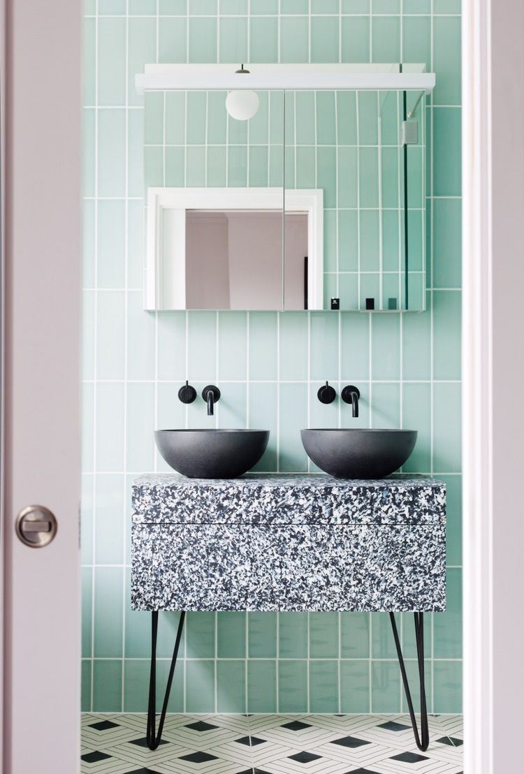 Our most popular mint and black bathroom design! Terrazzo style ...