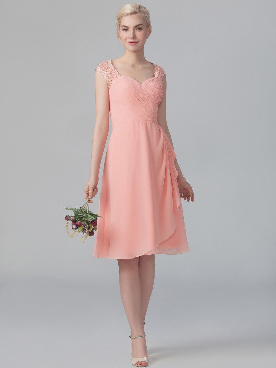 Chiffon Dress with Lace Straps; Color: Peach Sherbet; Sizes ...