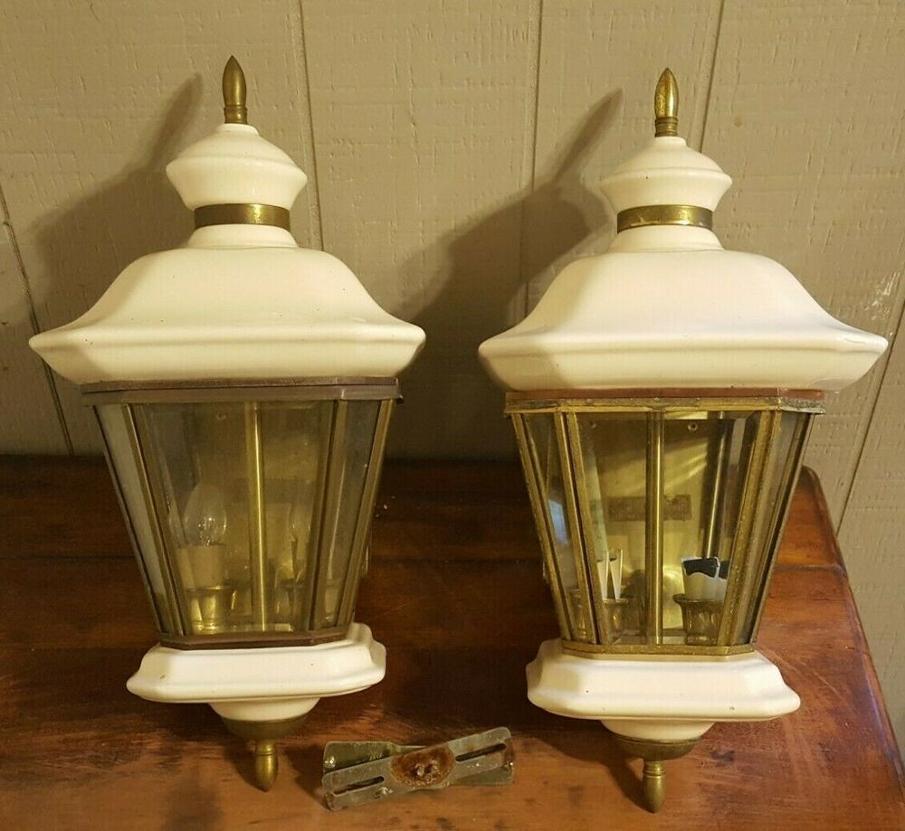 Two Porcelain Brass Outdoor Porch Lights Wall Mount Carriage Lamps Lanterns Unbranded Outdoor Porch Lights Carriage Lamps Porch Lighting