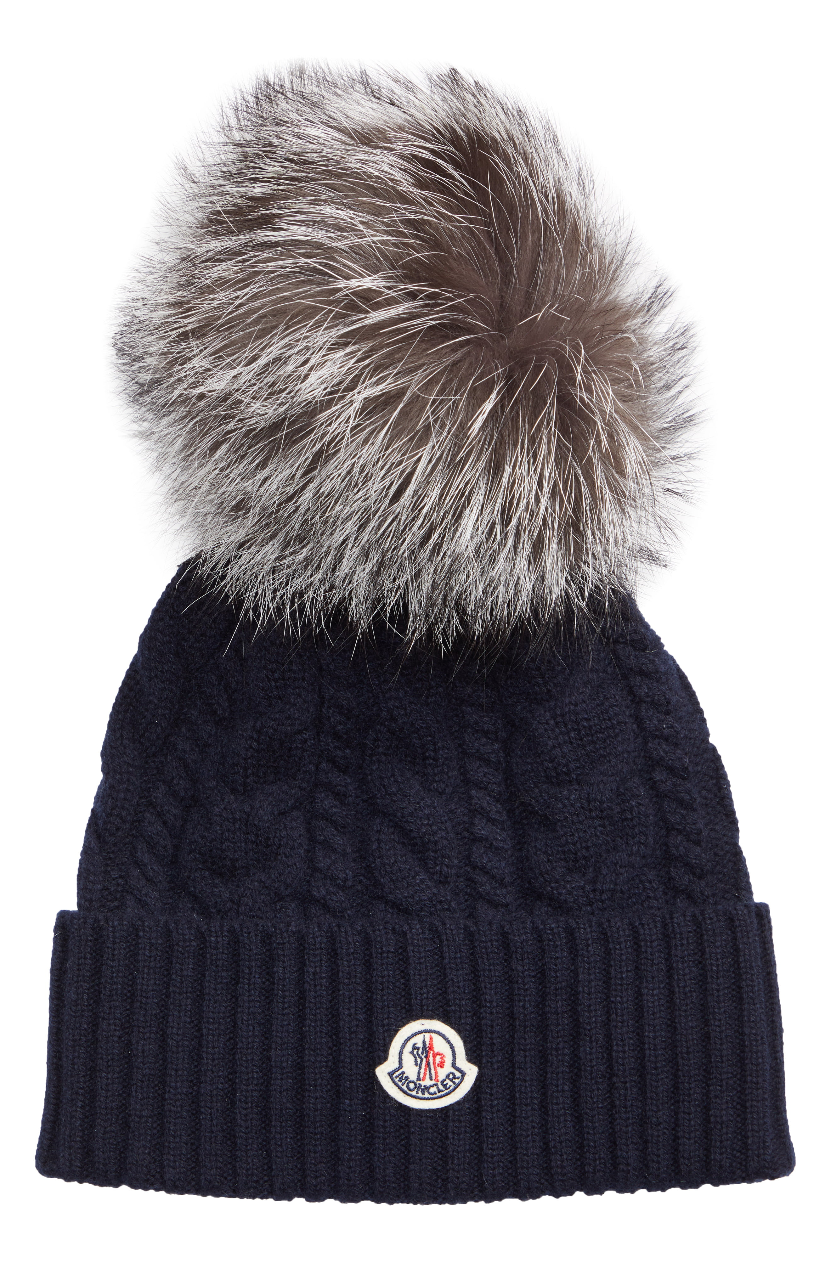 Women's Moncler Genuine Fox Fur Pom Wool Beanie Blue