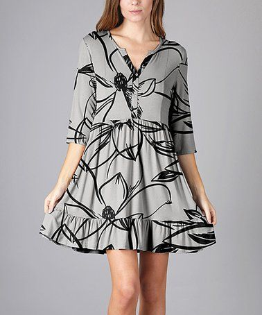 5cba3da550a4 Another great find on  zulily! Gray   Black Sketch Floral Tunic - Plus Too
