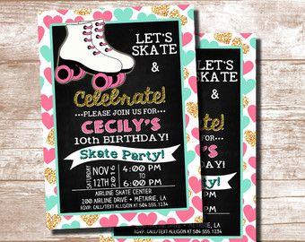 Roller Skating Invitation Roller Skating by ThePartyDarlingLLC