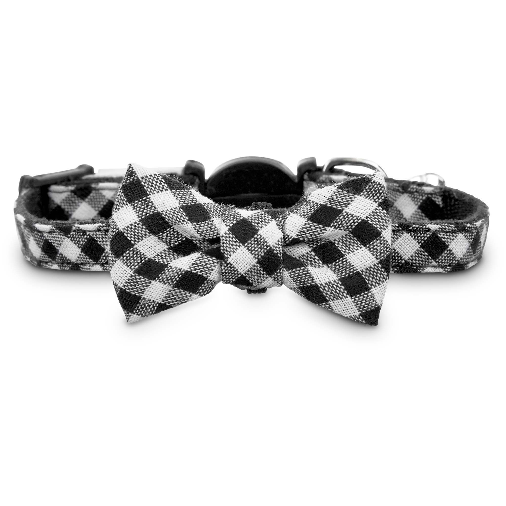 Bond And Co Black Gingham Bow Tie Kitten Collar Xsmall Xxlarge One Size Fits All To Watch Additionally For Thi Kitten Collars Cat Collars Kittens