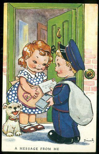 Dinah Postman Boy and Message Girl Raphael Tuck Artist:Dinah Tuck