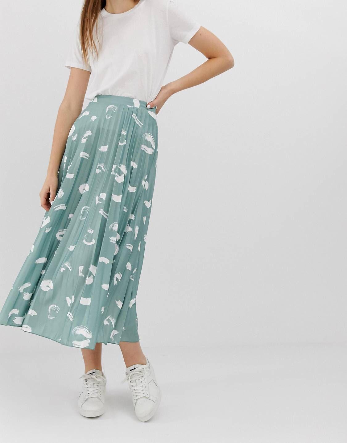 39b48f805c DESIGN pleated midi skirt in brush stroke print in 2019 | Wear it ...