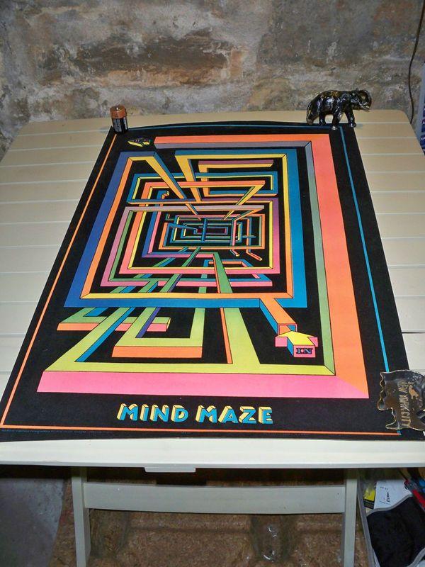 Rare Vintage LARRY EVANS Mind Maze FELT POSTER Maze - k chenm bel ohne elektroger te