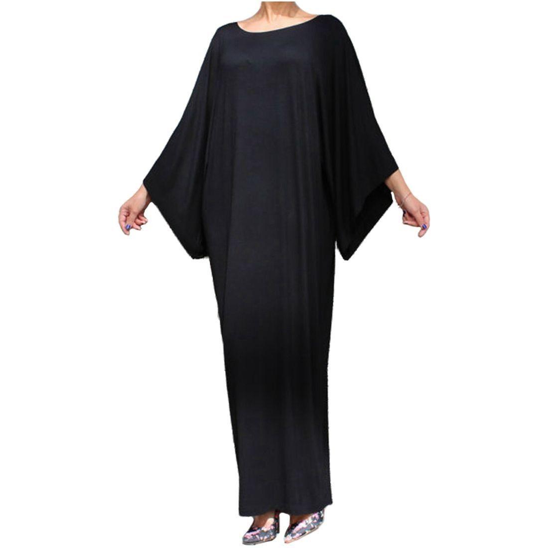 Women casual loose long dress ladies elegant batwing sleeve o