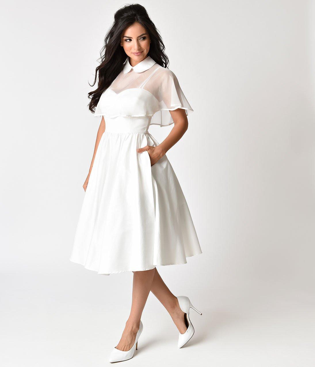 Unique Vintage 1940s Style White Brushed Cotton Luna Swing Dress Mes White Vintage Dress Wedding Dresses Unique Dresses [ 1275 x 1095 Pixel ]