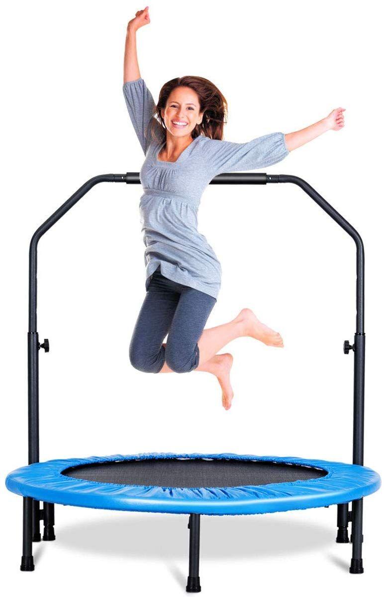 Giantex 40′ Foldable Mini Trampoline, Fitness Rebounder Trampoline w/Adjustable Foam Handrail, S…