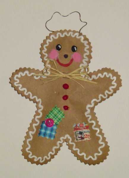 Gingerbread Man Made From A Brown Paper Bag Diy Christmas