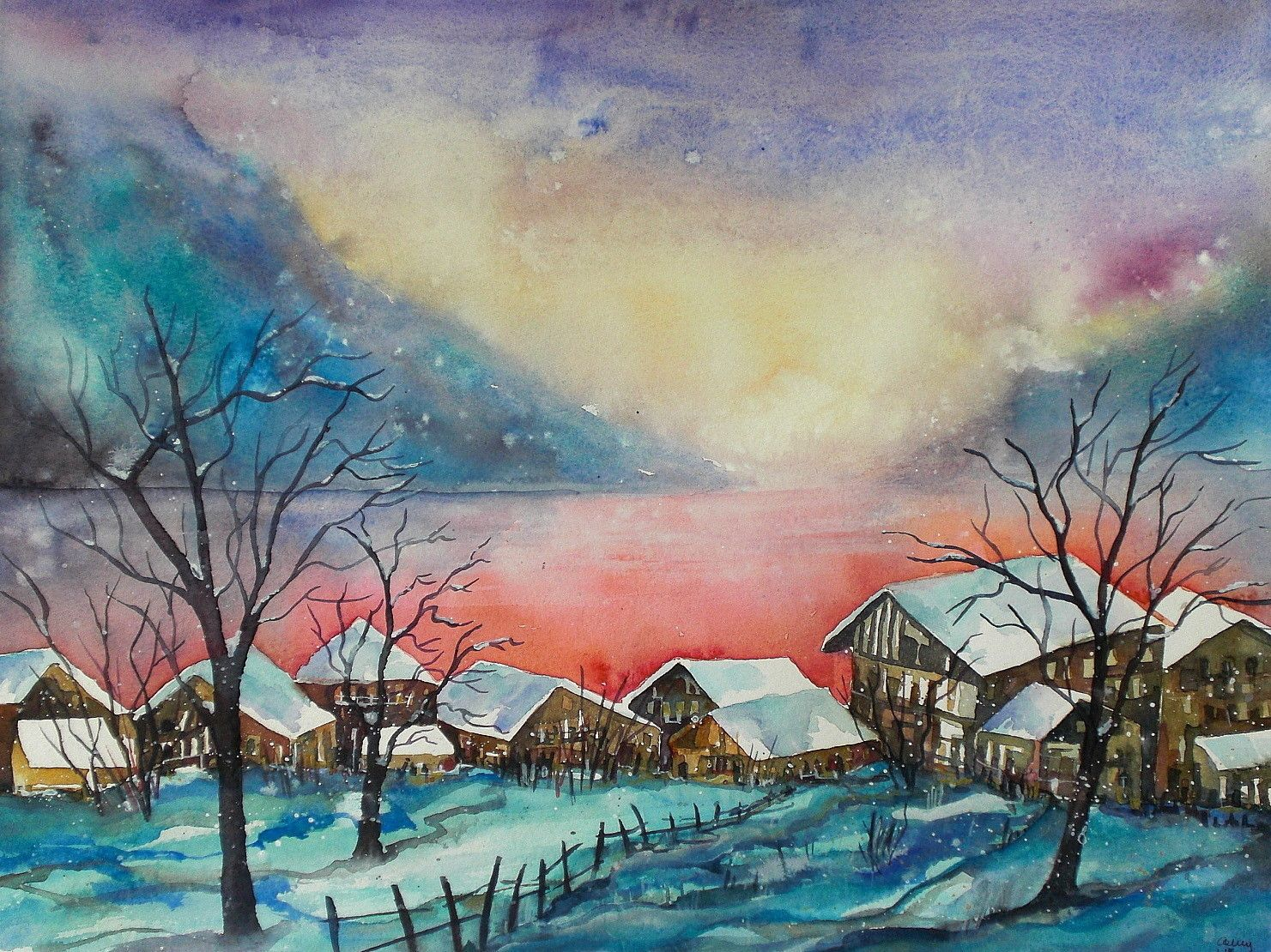 aquarell winter schnee winterlandschaft watercolor landscape snow kunst pinterest. Black Bedroom Furniture Sets. Home Design Ideas