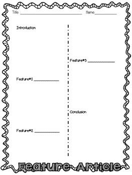 Feature Article Planning Template Elementary Feature