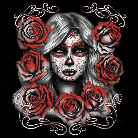 Day of the Dead Sugar Girl With Red Roses Sugar Skull Womans Short Sleeve 17043