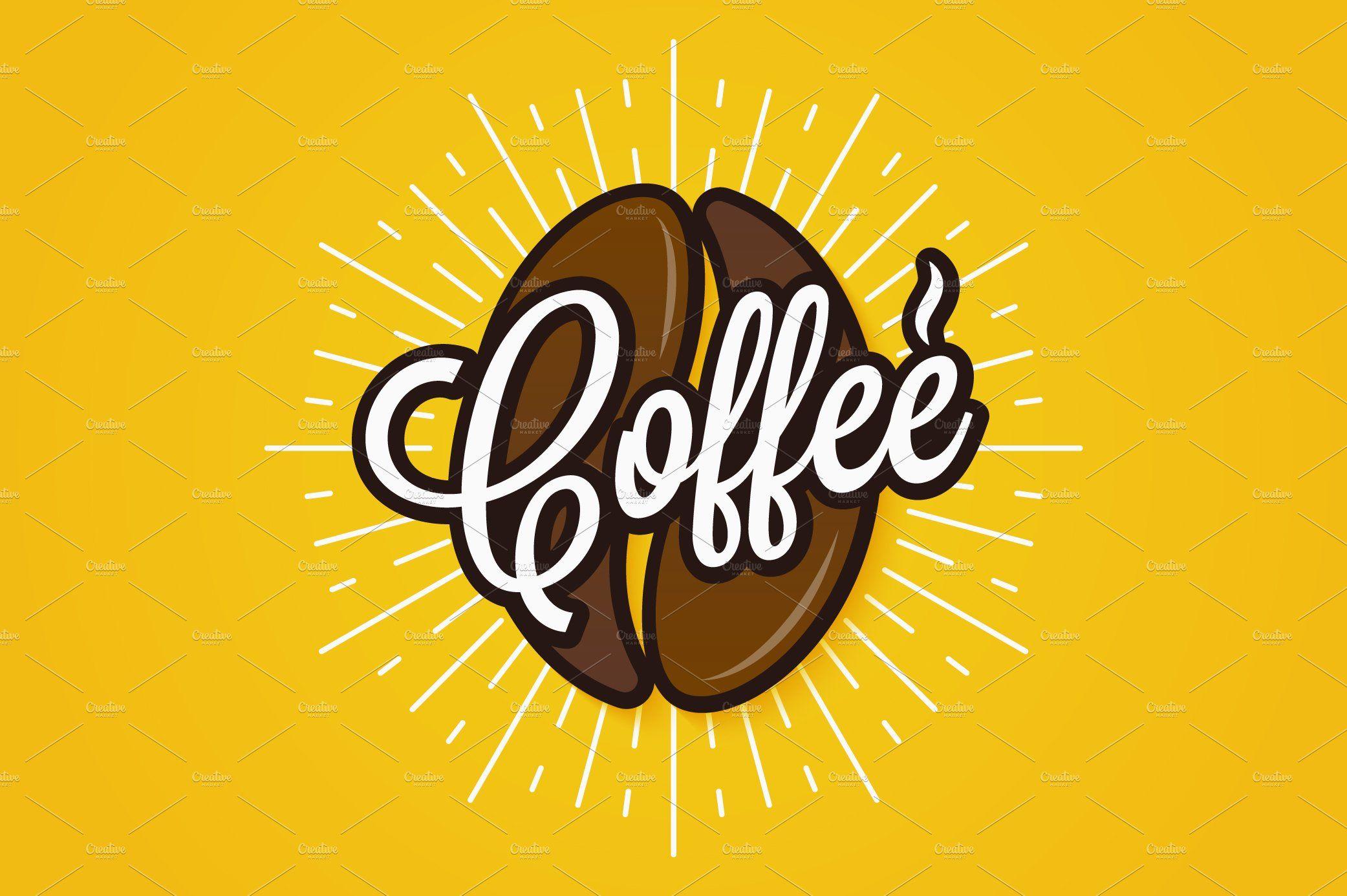 Coffee bean logo. Coffee lettering