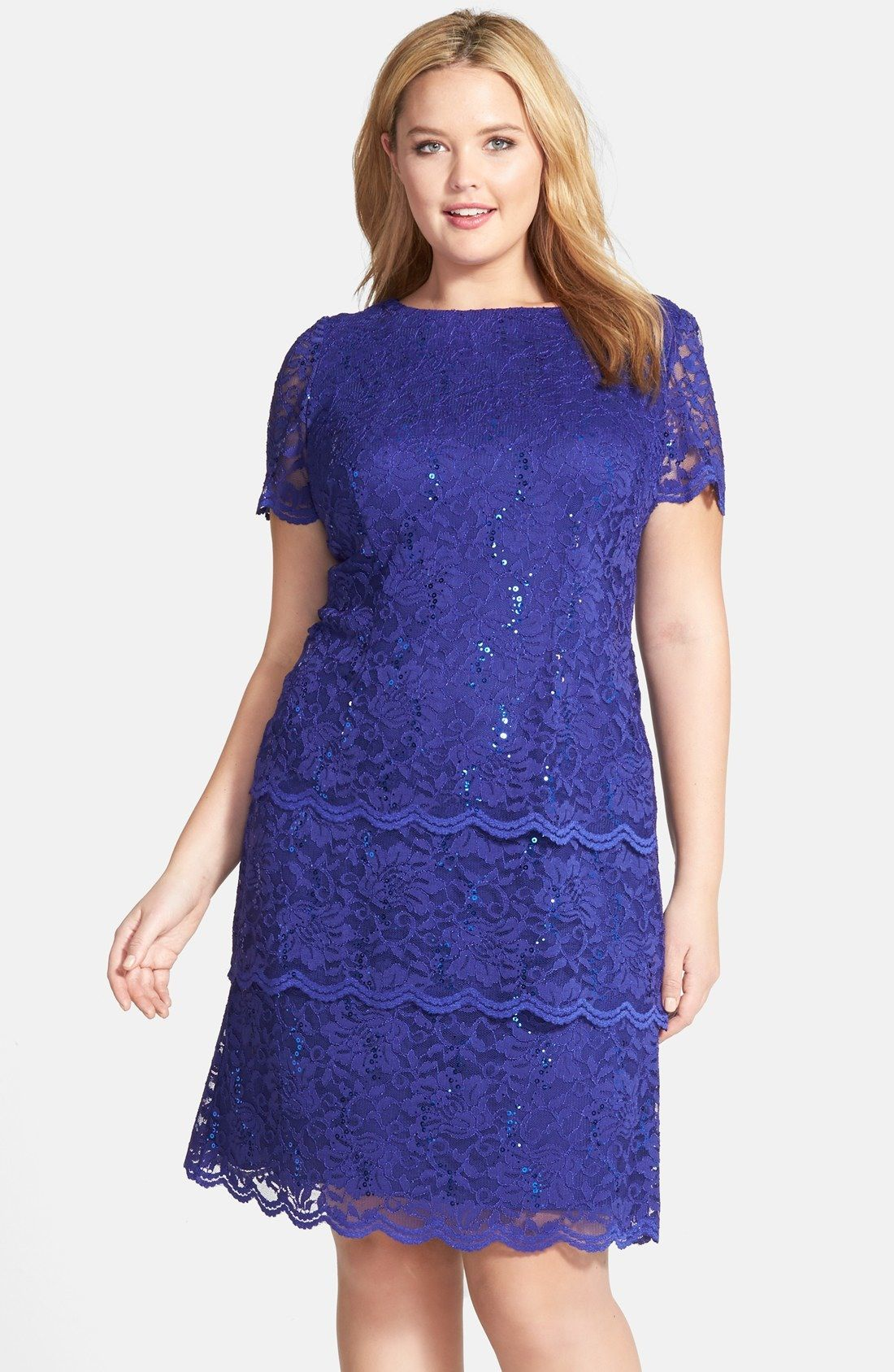 Alex Evenings Sequin Lace Shift Dress (Plus Size) available at ...