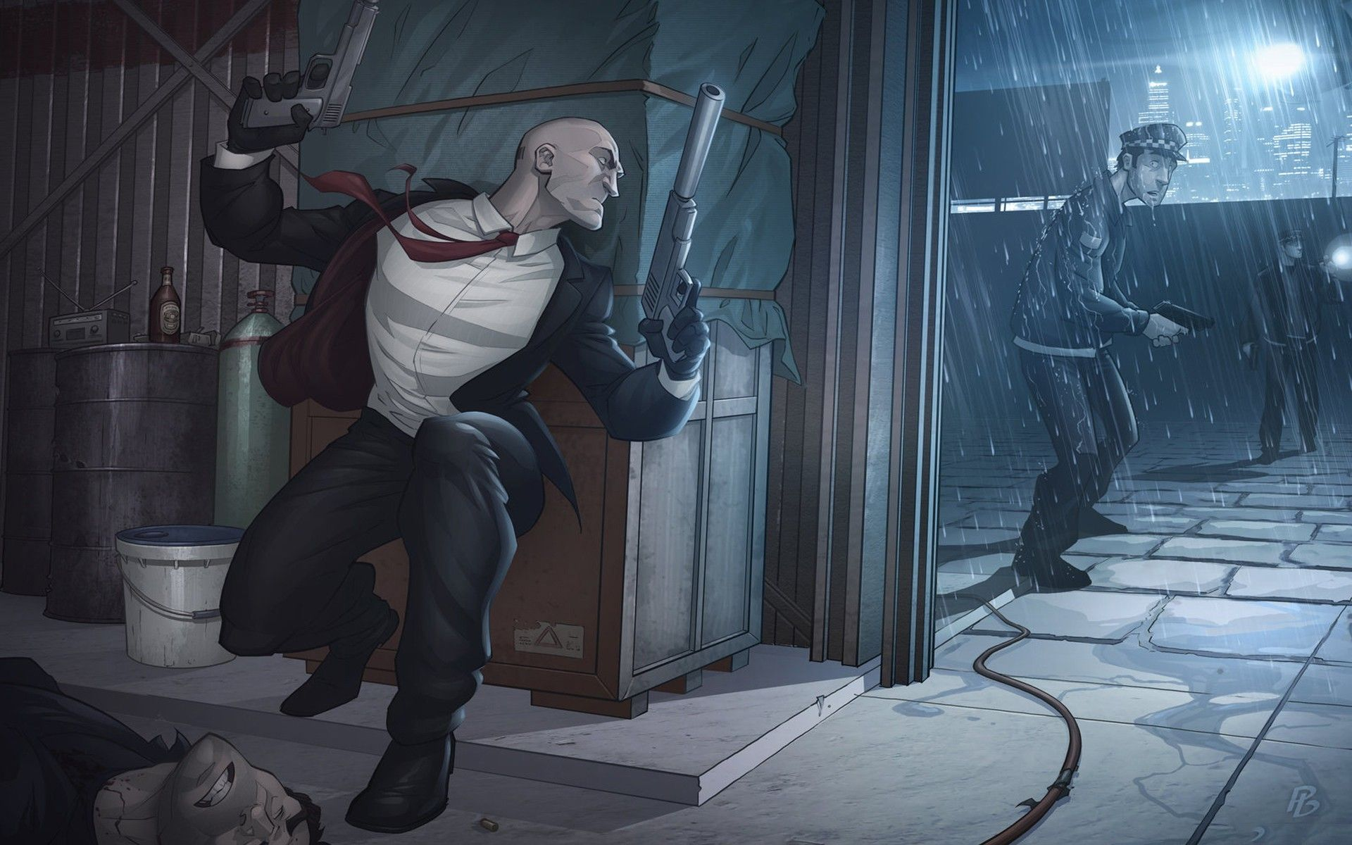 Agent 47 Artwork Assassins Cartoons Concept Art Guns Hitman Hitman Absolution Police Rain Video Games Wal Inspirational Digital Art Hitman Digital Illustration