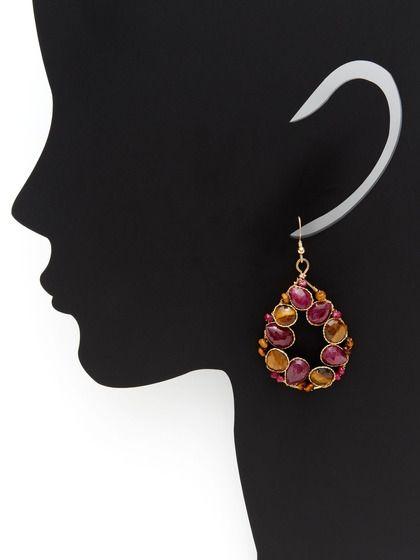 Ruby & Tiger's Eye Open Teardrop Earrings by KEP at Gilt