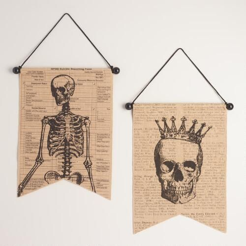 One of my favorite discoveries at WorldMarket.com: Burlap Skeleton and Skull Wall Decor Set of 2