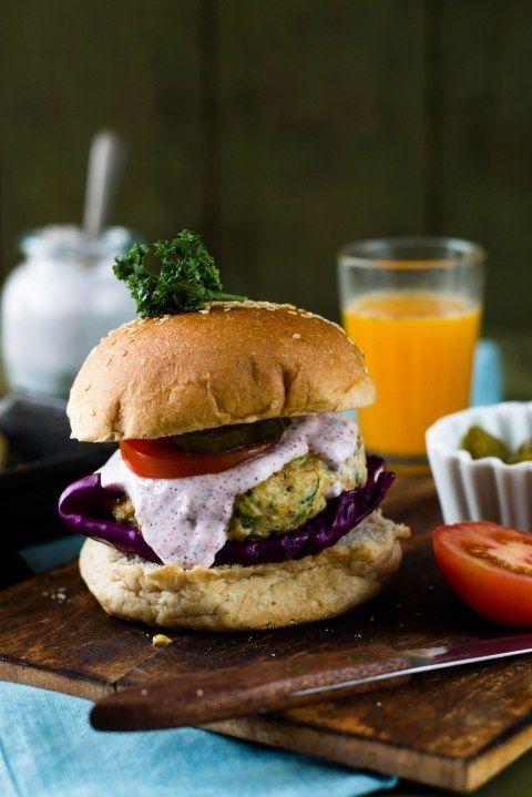 Chicken & Zucchini Burgers With Yogurt & Sumac Sauce