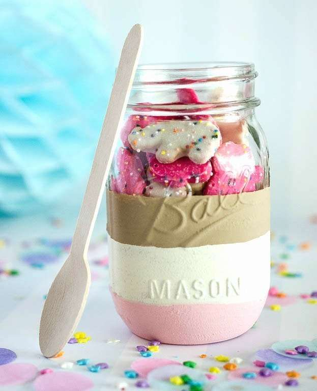Mason jars at an ice cream summer birthday party! See more party ideas at CatchMyParty.com!