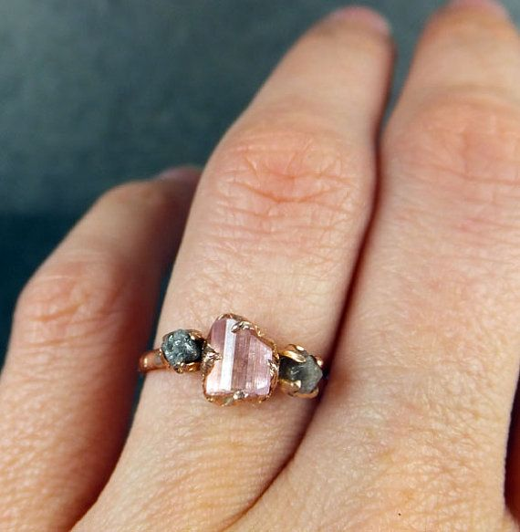 Fabulous CUSTOM Raw Pink Tourmaline Diamond Rose Gold Engagement Ring Wedding One Of a Kind Gemstone Ring Bespoke Three stone Ring byAngeline
